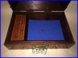 Antique Indian Kerala Wooden Brass Bound Jewelry Box Casket