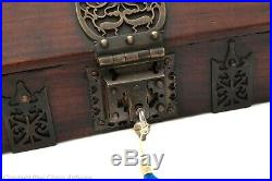Antique Indian Mahogany Wood & Brass Kerala Dowry / Jewellery Box