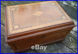 Antique Inlaid Jewellery / Sewing Box Banded with Lift out tray, Mirror and Lock