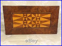 Antique Inlaid Wood Marquetry Jewelry Box Interior Removable Shelf with Mirror