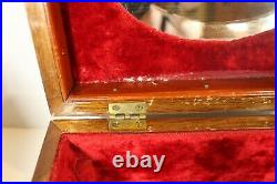 Antique Inlaid Wood Marquetry Jewelry Box -Removable Interior Tray No key