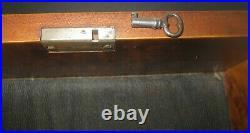 Antique Inlaid Wood Marquetry Vintage Jewelry Box, Burl Wood, Lock & Key