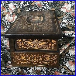 Antique Italian Tufted Silk Jewelry Box