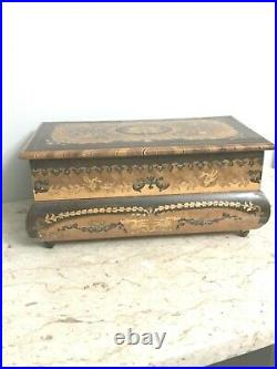 Antique Italian Wooden Inlaid Musical Jewelry Box With Thorens Swiss O Sole Mio