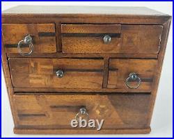 Antique Japanese Marquetry Inlaid Wooden Kodansu Jewelry Dresser Box