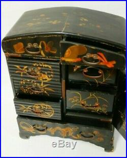 Antique Japanese lacquer ware jewellery cabinet, c 1885-95