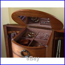 Antique Jewelry Armoire Oak Wood Drawers Decor Storage Stand Chest Cabinet Box