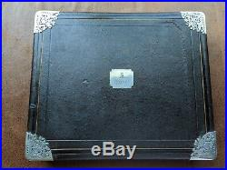 Antique Jewelry Box Display Case Leather Silk Velvet (Rings Gems Charms & More)