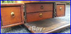 Antique Jewelry Chest Box Lock Box 5 Drawers Wood And Brass