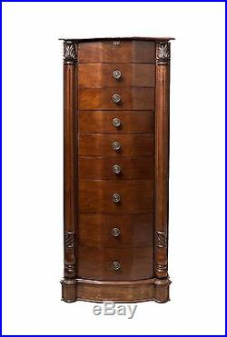 Antique Jewelry Storage Cabinet Armoire Necklace Chest Wood Drawer Box Holder