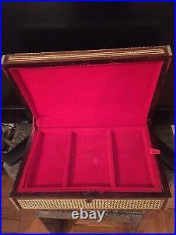 Antique Judaica Mother Of Pearl Inlaid Mosaic Magen David Jewelry Storage Box L