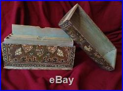 Antique Kashmir Anglo Indian Handpainted Gold Wooden Case Big Jewelry Letter Box