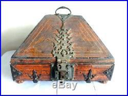 Antique Kerala Traditional Treasure Jewelry Box Wooden Dowry box Brass Trinket