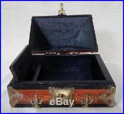 Antique Kerala Treasure Jewelry Box Wooden Mural Painted Brass Trinket Dowry box