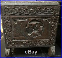 Antique Large Carved Chinese Jewelry Camphor Chest Box W Appraisal 4/91 10D Auct