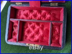 Antique Leather Tufted Silk Jewelry Box Display Case