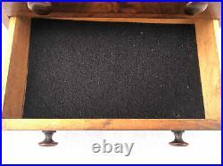 Antique Mahogany Empire Miniature 3 Draw Chest Jewelry Box 7 1/2 X 9 3/4 X 6