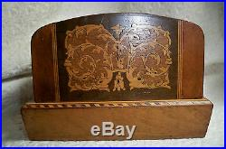 Antique Marquetry Inlaid Box Cigarette/Jewelry/Music Dome-Top, Hinged
