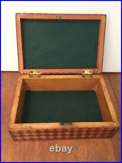 Antique Marquetry Inlaid Wood Box Diamond Pattern Jewelry Cigar Sewing