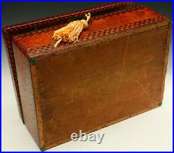 Antique Marquetry Jewelry Box Early American Tramp Art  Incredible