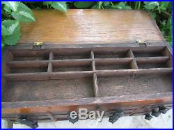 Antique Mini Wooden Notions Box Chest with12 Drawers Sewing/Jewelry Findings 11x4