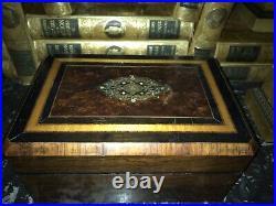 Antique Napoleon III Jewelry Box With Beautful Assortment Of Inlay