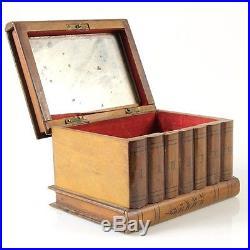 Antique Olive Wood Book Shelf Shaped Jewelry Box