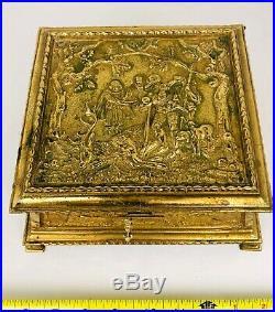 Antique Ornate Heavy Brass / Bronze Hunt Scene Figure Jewelry Humidor Box Coffer