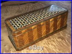 Antique Parquetry European Inlaid Wood Trinket Jewelry Box Intricate Geometric