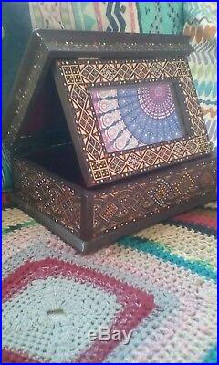 Antique Persian Khatam Mirrored Box Jewellery Trinket Repair Coloured Inlaid