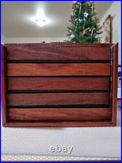 Antique Portable Huali Wood Lady Make Up jewelry Drawers box Inlaid Shell
