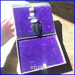 Antique Purple Velvet Jewelry Box Ring Slots