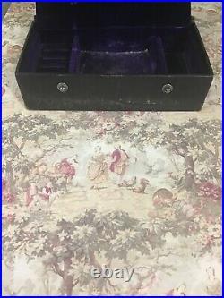 Antique Purple Velvet Jewelry Box Ring Slots Victorian