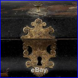 Antique Qing China Chinese Lacquered Wig Box Etui Case Jewelry Landscape18 C
