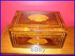 Antique Regency Period Large Burl Walnut Jewellery Box with Satinwood Inlay
