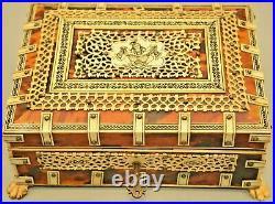 Antique Regency Tortoise Shell Inlaid Lattice Humidor Trinket Jewelry Letter Box