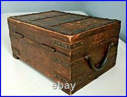 Antique Riveted Iron & Wood Document Money Box Jewelry Box Treasure Chest Shape