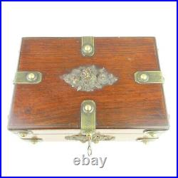 Antique Rosewood Jewelry Casket / Box Brass Studded Nail Heads Keyed Lock 19th C