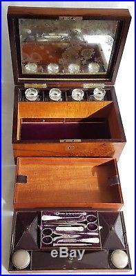 Antique Rosewood Ladies Dressing Vanity Case Jewellery Box Secret Drawers Silver