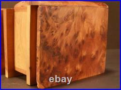 Antique Secret Book Puzzle Carved Burl Wood Jewelry Casket Dresser Trinket Box