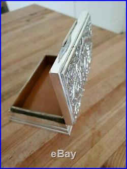 Antique Siam Sterling Silver Cigar Cigarette Jewelry Table Box Wood Lined 5 3/4