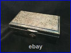 Antique Sterling Silver and wood Jewelry Box. 703.0 g