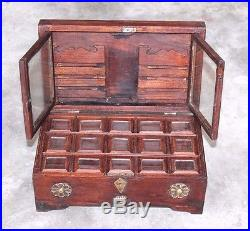 Antique Style Handmade Brass Design Multi Compartments Rustic Wooden Jewelry Box