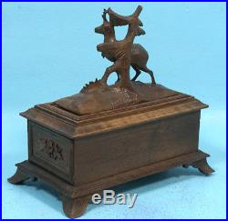 Antique Swiss Black Forest Wood Carved Trinket Jewelry Box Stag Edelweiss Relief