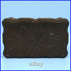Antique Swiss Black Forest Wood Carving JEWELRY TRINKET BOX Edelweiss c1920