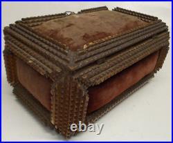 Antique TRAMP ART BOX chest 1900's wooden primitive art sewing