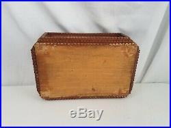 Antique TRAMP ART Mirrored Box FOLK ART Cigar hand Carved WOOD Americana jewelry