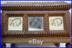 Antique Tramp Art Box Jewelry Keepsake Chip Carved Mirror Santa Father Christmas