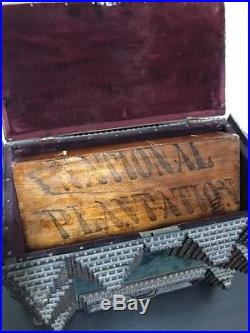 Antique Tramp Art Chip Carved Drawer Sewing Jewelry Box Folk Rare Cigar Crate
