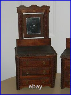 Antique Tramp Folk Art Miniature Doll Dresser Jewelry Box Lot Pair Of 2 Matching